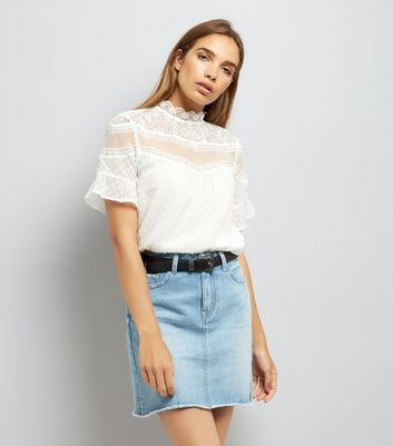 White Mesh Lace Panel High Neck Blouse