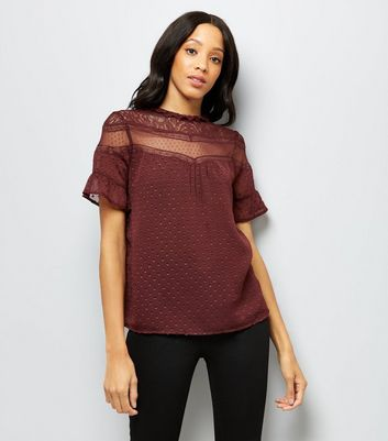 Burgandy Lace Panel High Neck Top