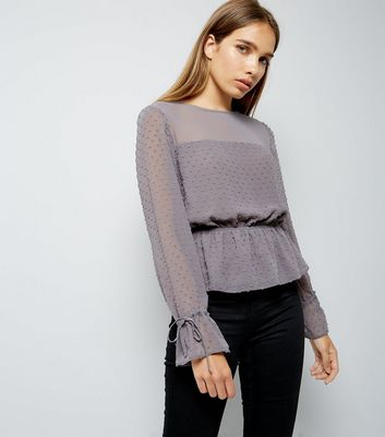 Grey Spot Textured Chiffon Top