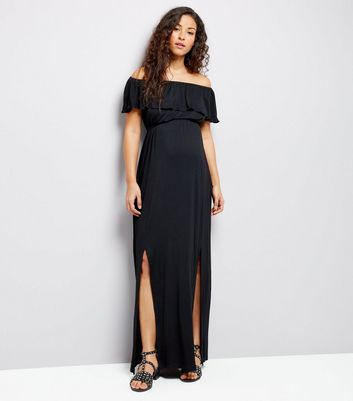 Maternity Black Frill Trim Bardot Neck Maxi Dress