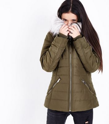 Teens Khaki Faux Fur Trim Hooded Puffer Jacket