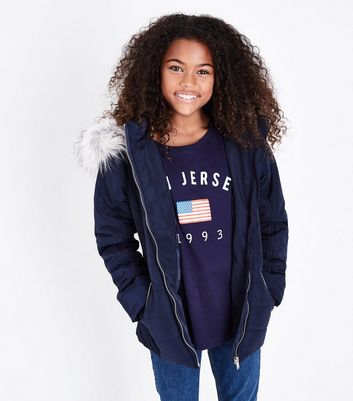 Teens Navy Fitted Puffer Jacket