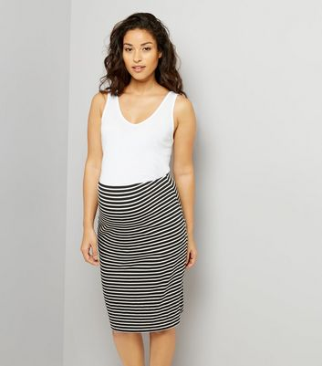 Maternity Black Stripe Jersey Midi Skirt