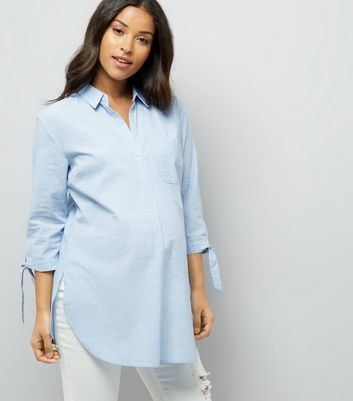 Maternity Pale Blue Tie Sleeve Shirt