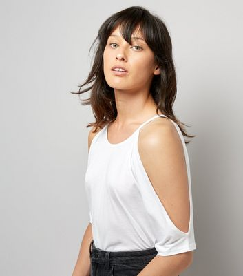White Cold Shoulder T-Shirt