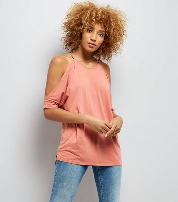 Coral Cold Shoulder T-Shirt