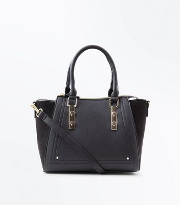 Black Metal Trim Structured Tote Bag