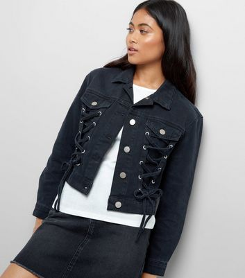 Petite Black Lace Up Front Denim Jacket