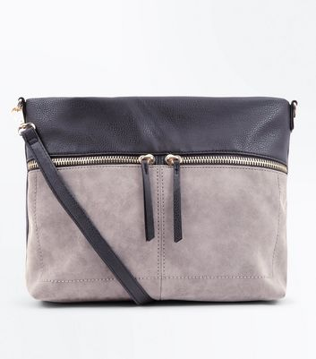Sac design color bloc gris à bandoulière et zip