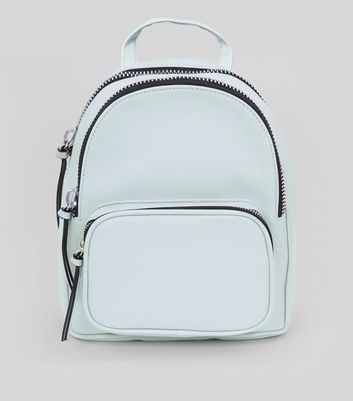 Pale Blue Chunky Zip Mini Backpack