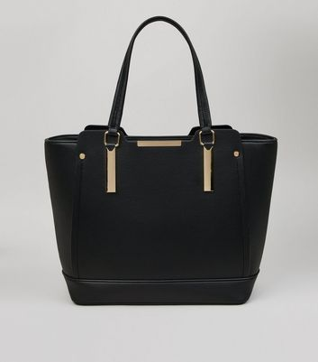 Black Metallic Trim Structured Tote Bag