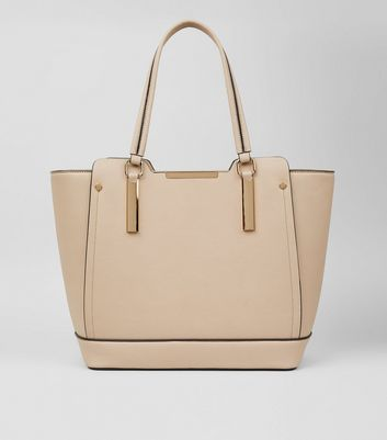 Shell Pink Metallic Trim Tote Bag