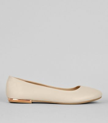 Wide Fit Cream Metal Trim Ballerina Pumps