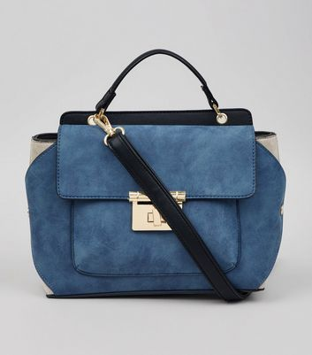 Blue Suedette Top Handle Shoulder Bag