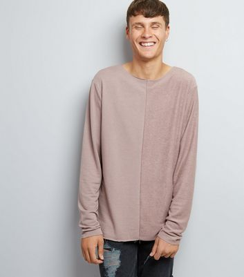Light Purple Spliced Raw Hem Sweater