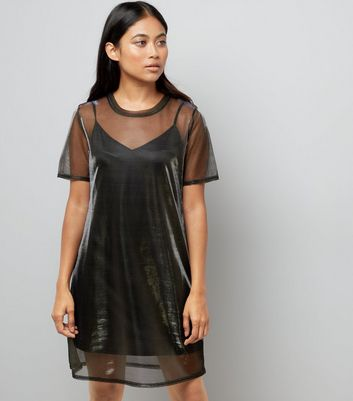 Petite Black Metallic Mesh Tunic Dress