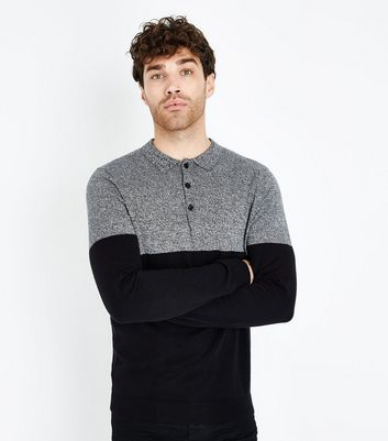 Black Colour Block Long Sleeve Polo Top