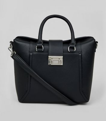 Black Mini Structured Fold Top Tote Bag