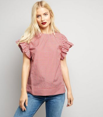 Anita and Green Red Gingham Frill Trim Sleeve Top