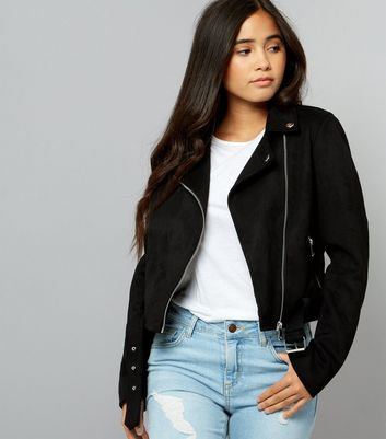 Teens Black Suedette Biker Jacket