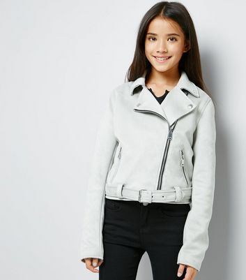 Teens Grey Suedette Biker Jacket