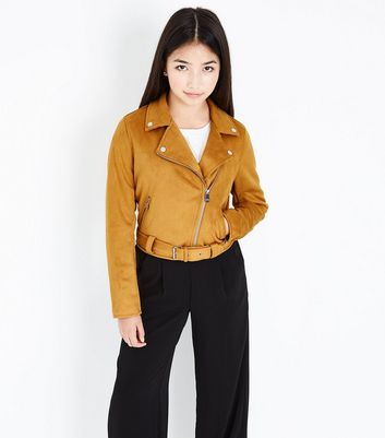 Teens Mustard Yellow Suedette Biker Jacket