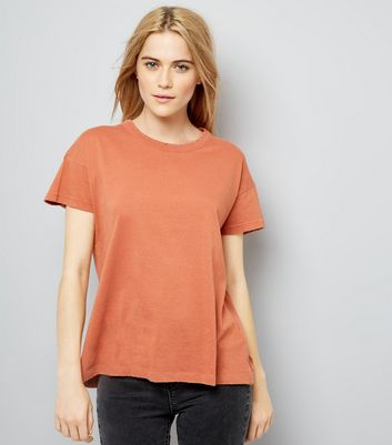 Coral Distressed Edge T-Shirt