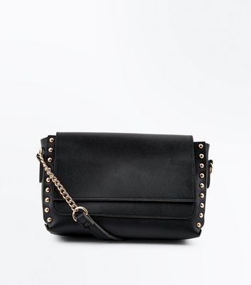 Black Studded Edge Cross Body Bag
