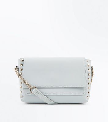 Blue Studded Edge Cross Body Bag