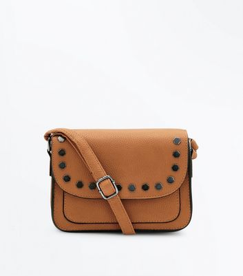 Tan Hexagonal Stud Cross Body Bag