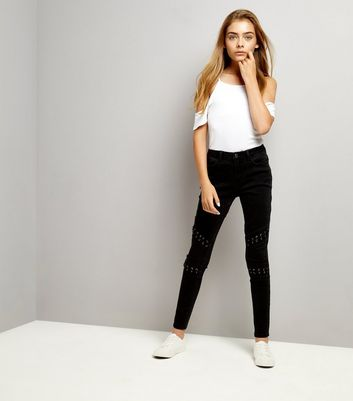 Teens Black Lattice Knee Jeans