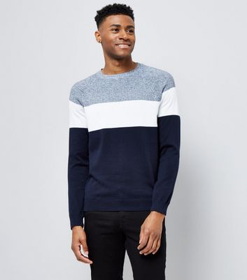 Navy Colour Block Crew Neck Sweater