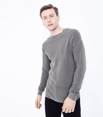 Olive Green Crew Neck Textured Jumper