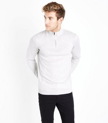 Cream Half Zip Jersey Sweater