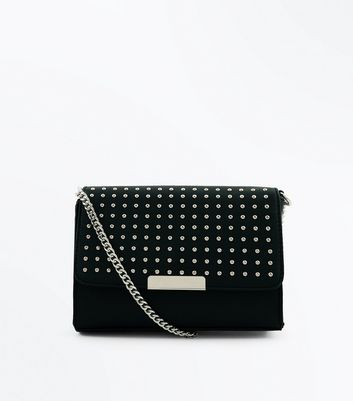 Black Studded Popper Front Cross Body Bag
