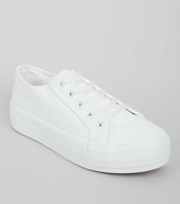 Wide Fit White Chunky Sole Trainers