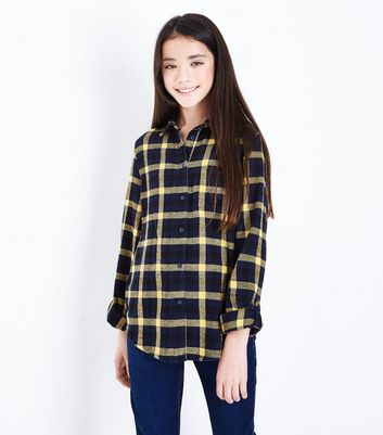 Teens Blue Check Pattern Shirt