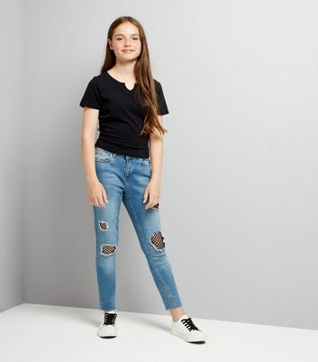 Teens Blue Mesh Panel Jeans