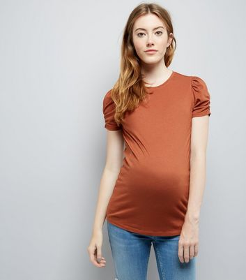 Maternity Rust Puff Sleeve Top