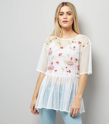 Anita and Green White Floral Embroidered Mesh Top