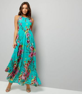 Blue Vanilla Turquoise Floral Print Maxi Dress
