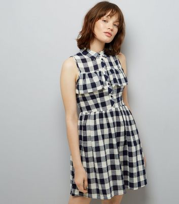 Blue Vanilla Navy Gingham Check Frill Trim Dress