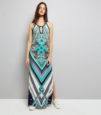Blue Vanilla Turquoise Abstract Print Maxi Dress