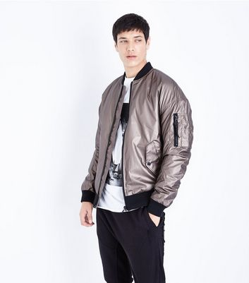 Bronze Metallic Bomber Jacket