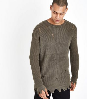 Olive Green Distressed Knit Jumper