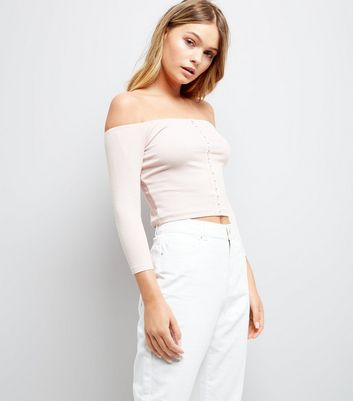 Pink Hook and Eye Bardot Neck Top