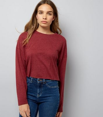 Burgundy Raw Hem Long Sleeve Crop Top