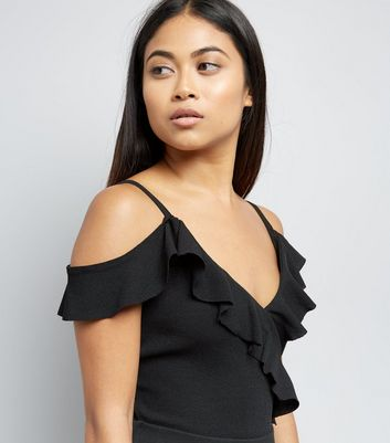 Petite Black Frill Trim Cold Shoulder Bodysuit