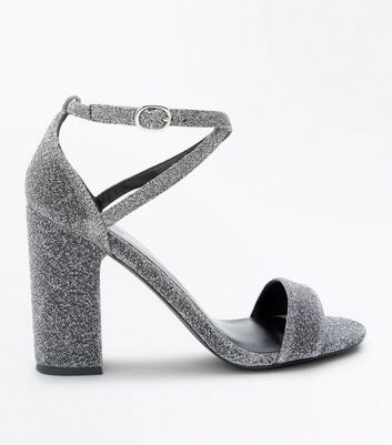 Silver Glitter Cross Strap Block Heel Sandals