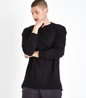 Black Dropped Shoulder Crew Neck Jumper